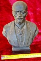 Ленин бюст, материал метал, высота 24 см., ширина 7 см., длина 7 см.  - 8