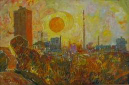 Городской рассвет  80-120 см. холст масло 1988г