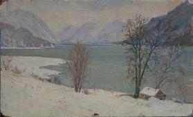 Горное озеро  30-50 см. картон масло 1954г