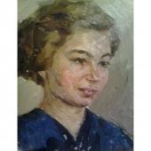 Галина 21-27 картон, масло 1955г.