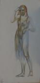 Портрет рыжеволосой девушки  50-25 см.  бумага акварель 1980г