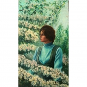 В цветущем саду 59-34 холст, масло 1978г.