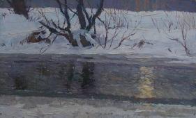 Солнце в зимней воде 20-32 см. картон масло 1968г