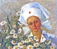 Медсестра с ромашками 85 см - 100 см. холст, масло, 1964г.