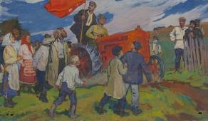 Красный трактор 119-201см. холст масло