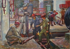 На заводе 35-48.5 см. картон масло 1970е