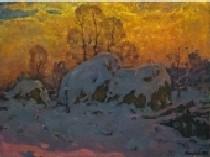 Зима. Стожки в снегу 60-80 холст, масло 1983г.