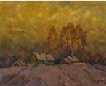 Зима в деревне 45-56 холст, масло 1982г.