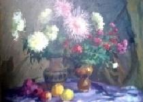 Хризантемы 120-120 холст, масло 1986г.