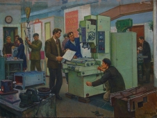 Рождение станка 90-120см. холст масло 1982г.