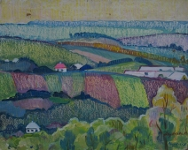 Село Щугинка 40-50 см. картон масло 1969г