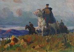 Командир на белом коне  31-43 см. картон масло 1970е