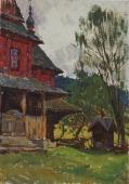 Красный дом  49-34 см. картон масло 1950е