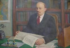 Ленин за чтением газеты 80-120 холст, масло