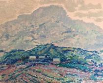 Горная деревня 35-45 см.,картон, масло