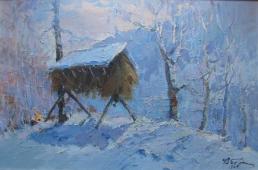 Кормушка в зимнем лесу 45-68 см., холст, масло 1967