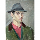 Автопортрет в шляпе 49,5х34,8 картон, масло