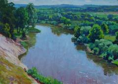 Два берега реки  50-70 см. холст масло 1970е