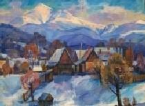 Зима в горной деревне 67-88 холст, масло