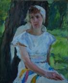 Портрет девушки у дерева  60-50 см. холст масло   1970е