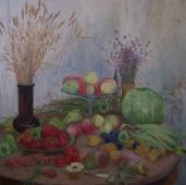 Осенний урожай на столе 100-100 см. холст масло  1987