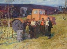 Механизаторы весны 201-150 см. холст масло 1981г