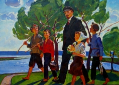 Ленин с детьми идут на речку  128-177 см. холст масло 1971г