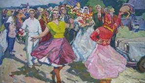 Свадьба 114-198 см. холст масло 1960е