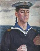 Портрет  моряка 50-40 см. холст масло  1970е