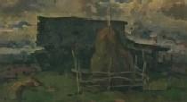 Октябрь. Холодный день в северной деревне 34-56 холст, масло 1989г.