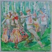 Народный танец 20-20 см. бумага акварель 1970е