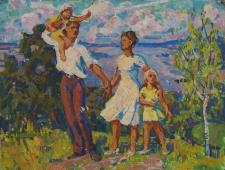 Семья на прогулке  37-49 см. картон масло 1970е