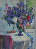 Полевые цветы  120-80 см. холст масло 1970е