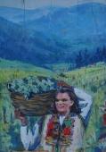 Девушка с корзиной 29-20,5 см.  картон масло 1970е