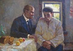 Шевченко беседует с мужчиной  99-138 см. холст масло 1960е
