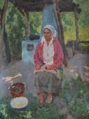 Женщина возле печки 80-60 см. холст масло 1970е