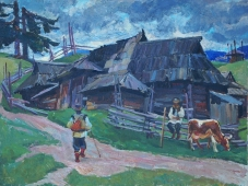 Сельская жизнь  50-67 см. холст масло 1960 е