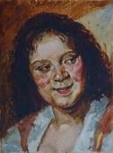Портрет девушки  26-20 см. картон масло  1960е