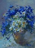 Натюрморт с полевыми цветами 40-30 см. холст масло  2000е