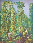 На плантациях хмеля 104-80 холст, масло 1980г.