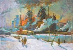Азовсталь 69-100 см. холст масло 1980-е г.