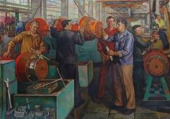Тракторостроители. Бригада Дуюнова 140-196 холст, масло 1982г.