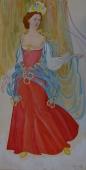 Принцесса в красном платье  50-25 см.  бумага акварель 1986г