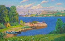 Мост через Днепр 90-140 картон, масло 1977г.