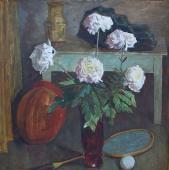 Натюрморт с хризантемами 80-80 см. холст масло 1988г.