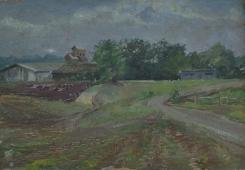Сельский пейзаж  34-49 см. картон масло