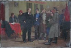 Ходаки у Ленина  120-160 см. холст масло 1980 г.