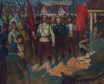 Митинг в с.Михайловка посвященный изгнанию Врангельцев с Крыма 80-100 холст, масло 1987г.