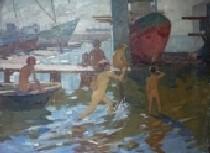 Мариуполь. Гавань Шмидта 96,5-129,5 холст, масло 1960г.