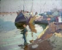 Гавань. Затонувшее судно 43-51 холст, масло 1960г.